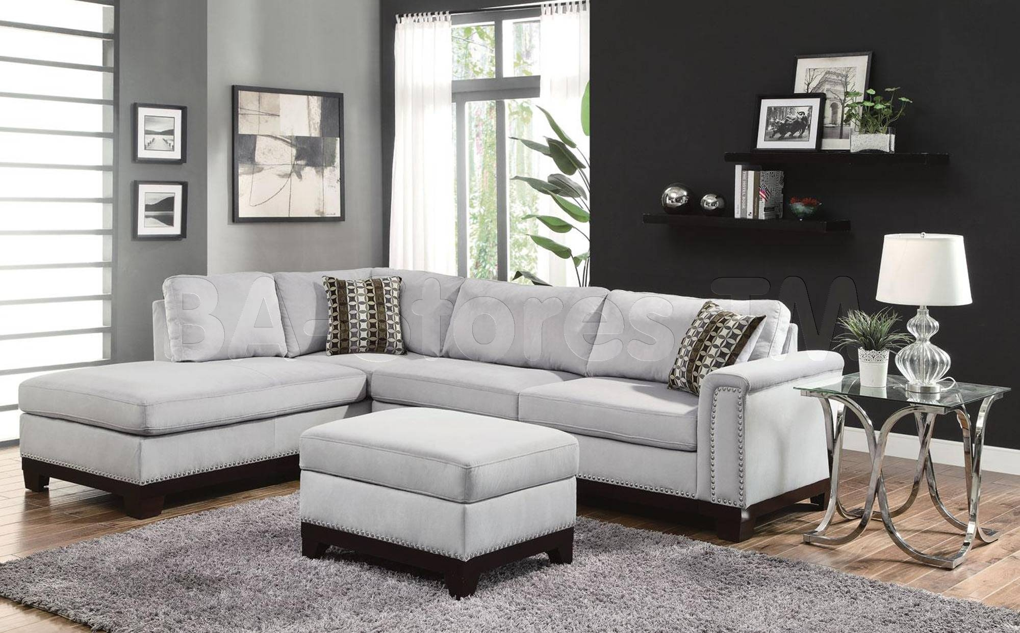 Wonderful Sectional Sofa With Nailhead Trim 55 On Extra Wide regarding Extra Wide Sectional Sofas (Image 30 of 30)