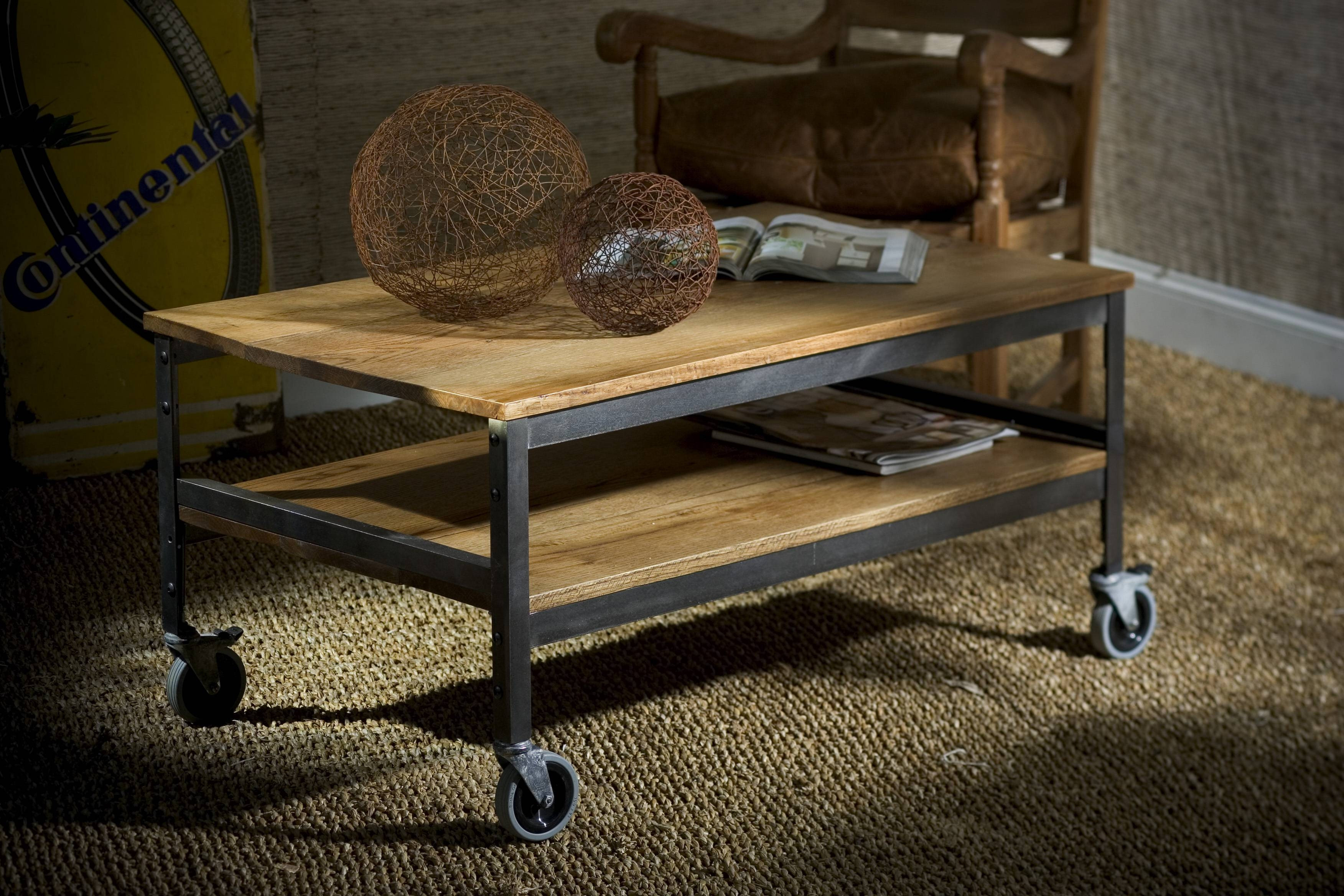 Wood And Metal Coffee Table On Wheels | Coffee Tables Decoration throughout Rustic Coffee Table With Wheels (Image 30 of 30)