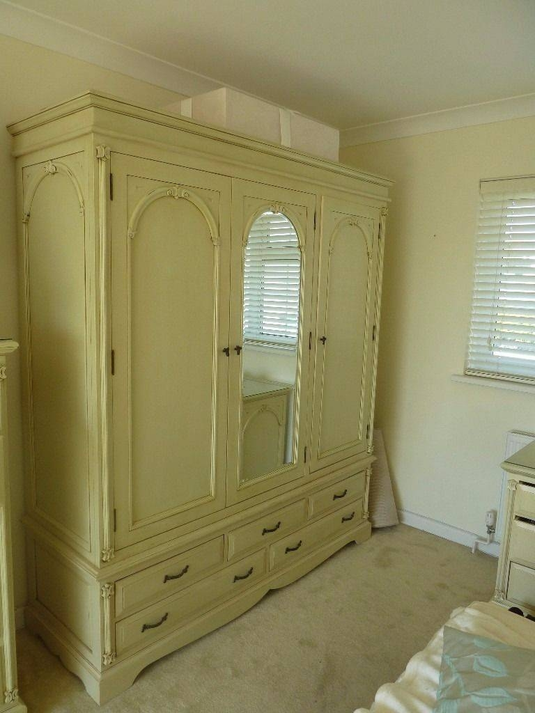 Wood French Armoire Shabby Chic Cream 3 Door Wardrobe With Mirror inside Cream French Wardrobes (Image 15 of 15)
