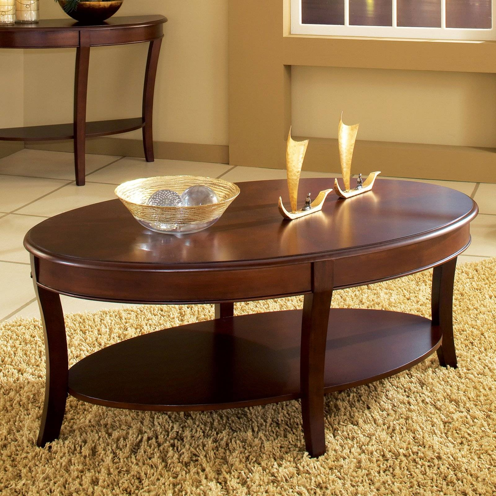 Wood Oval Coffee Table With Drawer The Shiny Tables Oblong B / Thippo intended for Oblong Coffee Tables (Image 30 of 30)