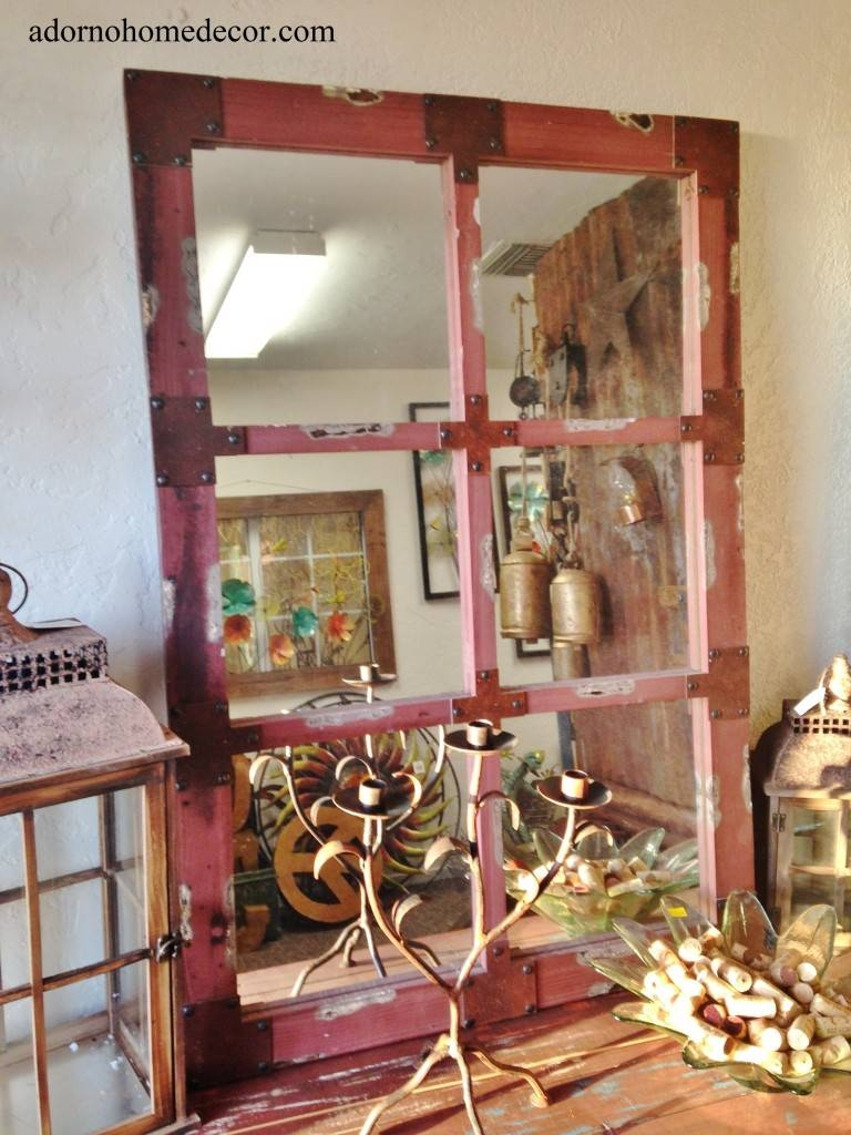 Wood Red Wall Mirror Industrial Metal Rustic Distressed Antique in Red Mirrors (Image 25 of 25)