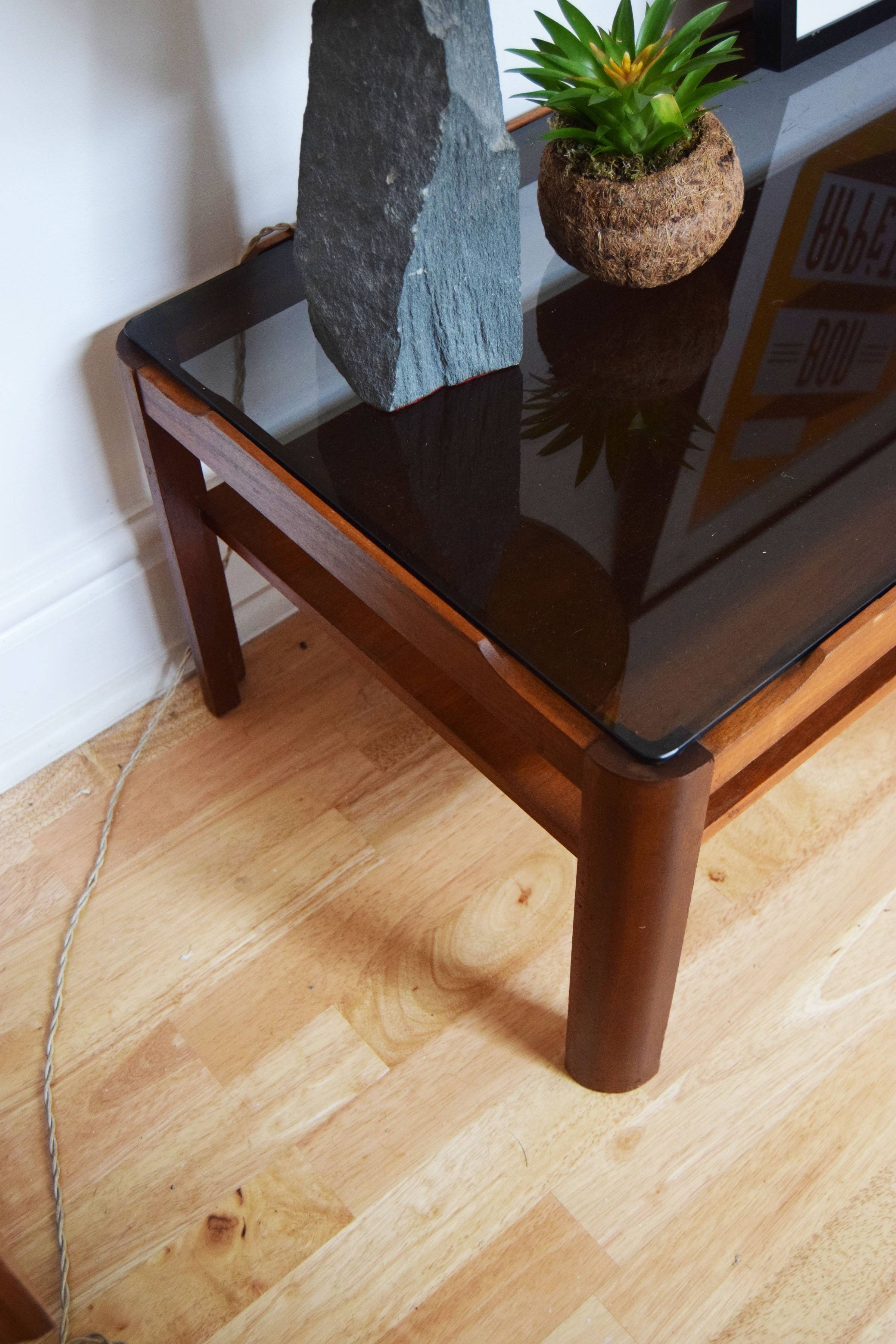 Wooden Coffee Table /smoked Glass / Side Table Vintage / Retro Intended For Retro Smoked Glass Coffee Tables (View 12 of 30)