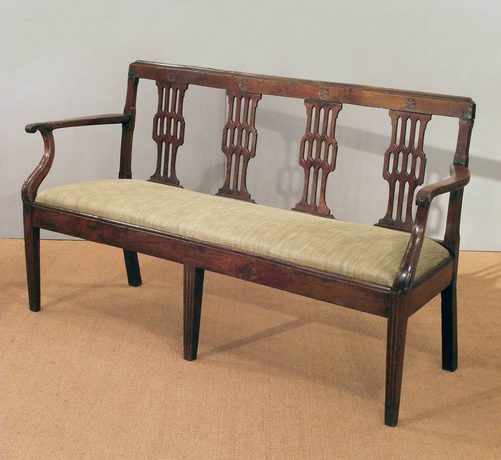 Wooden Settee Bench | Bench Decoration within Antique Sofa Chairs (Image 30 of 30)