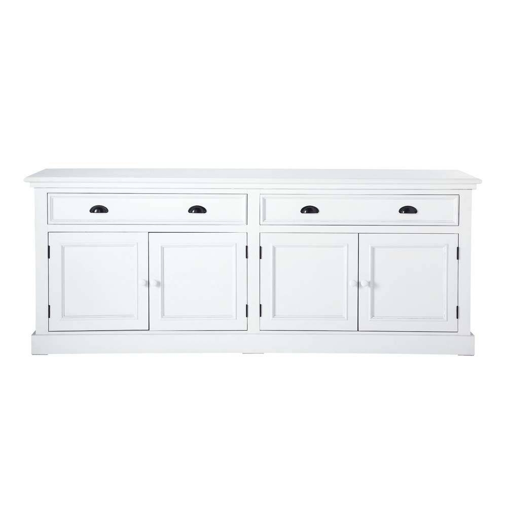 Wooden Sideboard In White W 200Cm Newport | Maisons Du Monde with White Wooden Sideboards (Image 30 of 30)