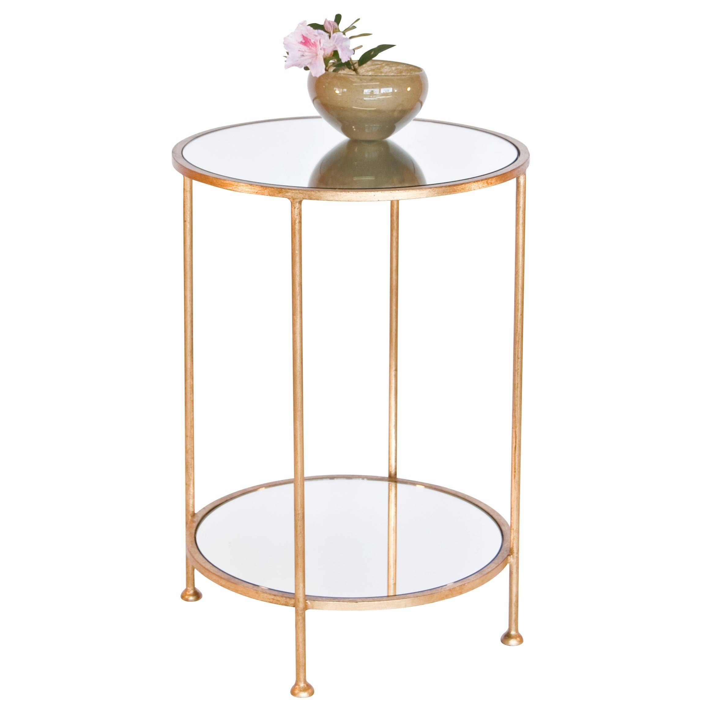 Worlds Away Chico Small 2 Tier Gold Leaf Side Table, Mirror Top with Small Table Mirrors (Image 25 of 25)