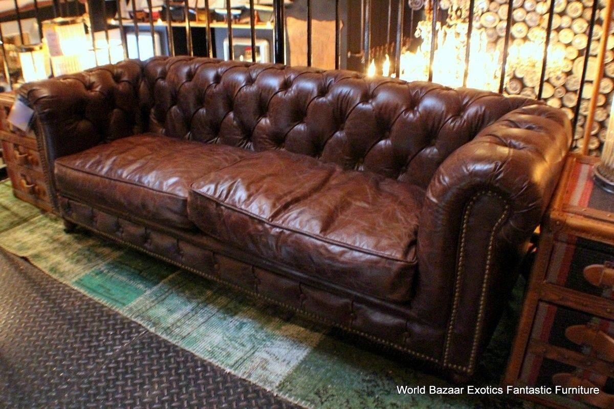 Worn Leather Sofa And Vintage Distressed Brown Leather Sofa Regarding Vintage  Leather Sofa Beds (Image