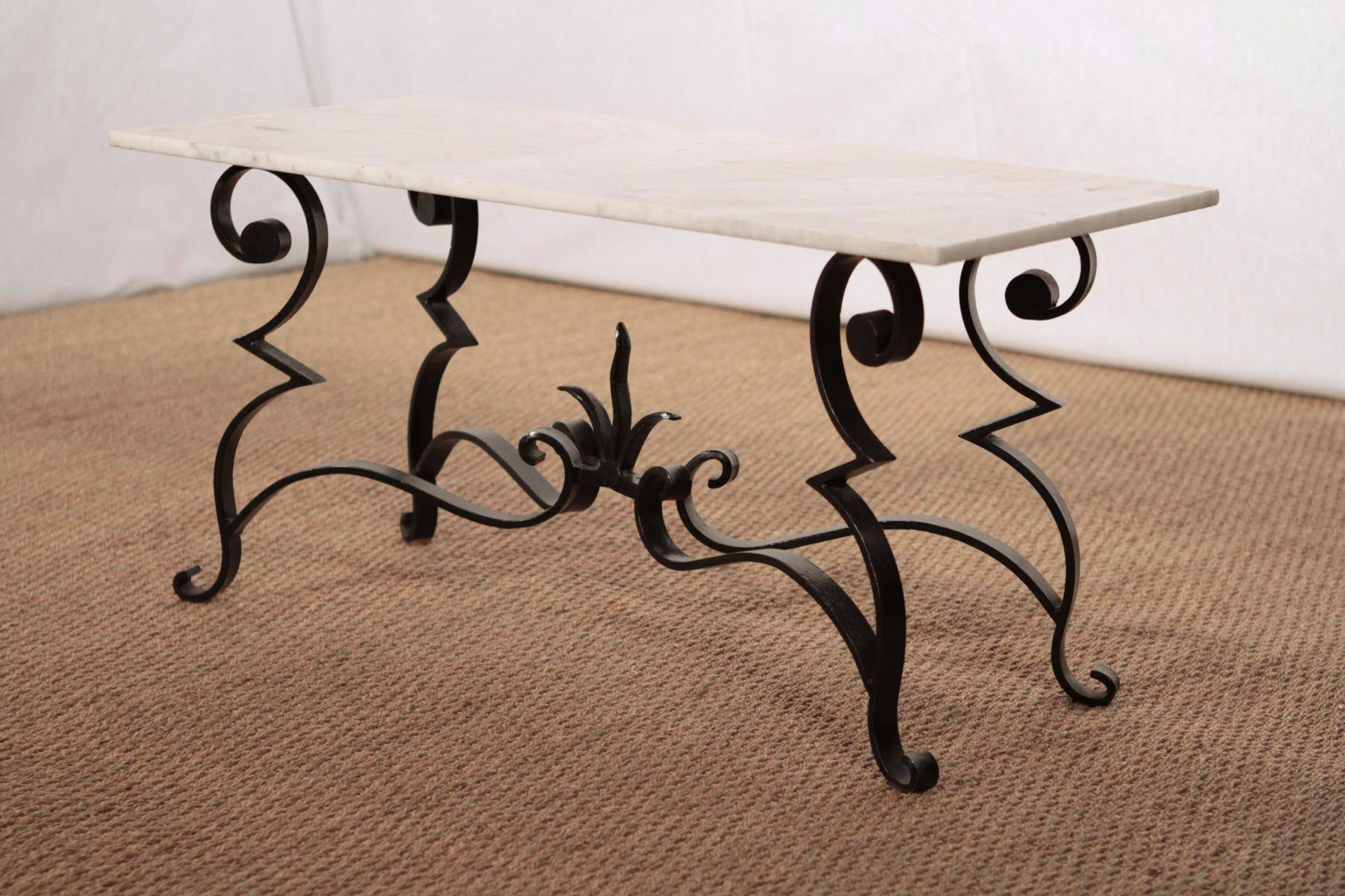 Wrought Iron And Marble Coffee Table For Sale At Pamono for Wrought Iron Coffee Tables (Image 21 of 30)