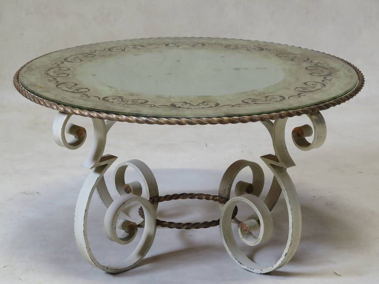 Wrought Iron Coffee Table With Eglomisé Mirror Top, France 1940S throughout Wrought Iron Coffee Tables (Image 24 of 30)