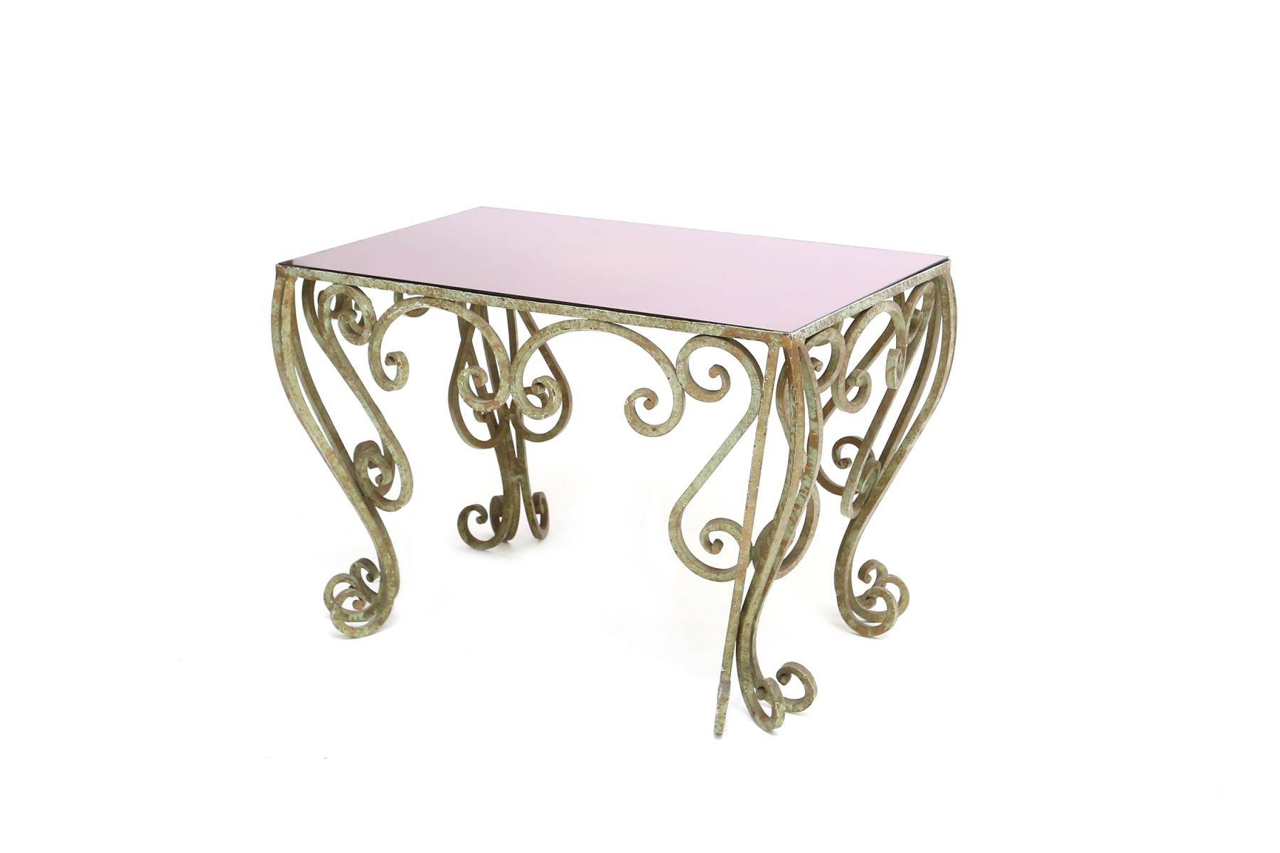 Wrought Iron Coffee Table With Purple Mirrored Glass For Sale At within Wrought Iron Coffee Tables (Image 26 of 30)