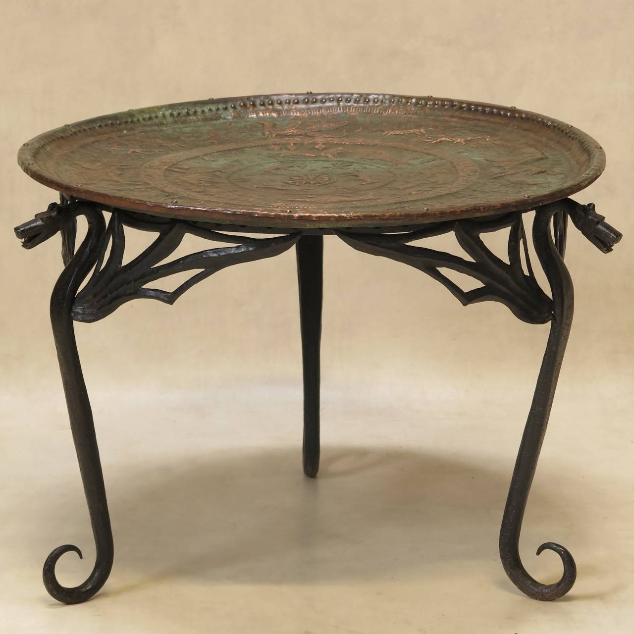 "Wrought Iron ""Dragon"" Coffee Table With Copper Top, France, Early Regarding Dragon Coffee Tables (View 15 of 30)"