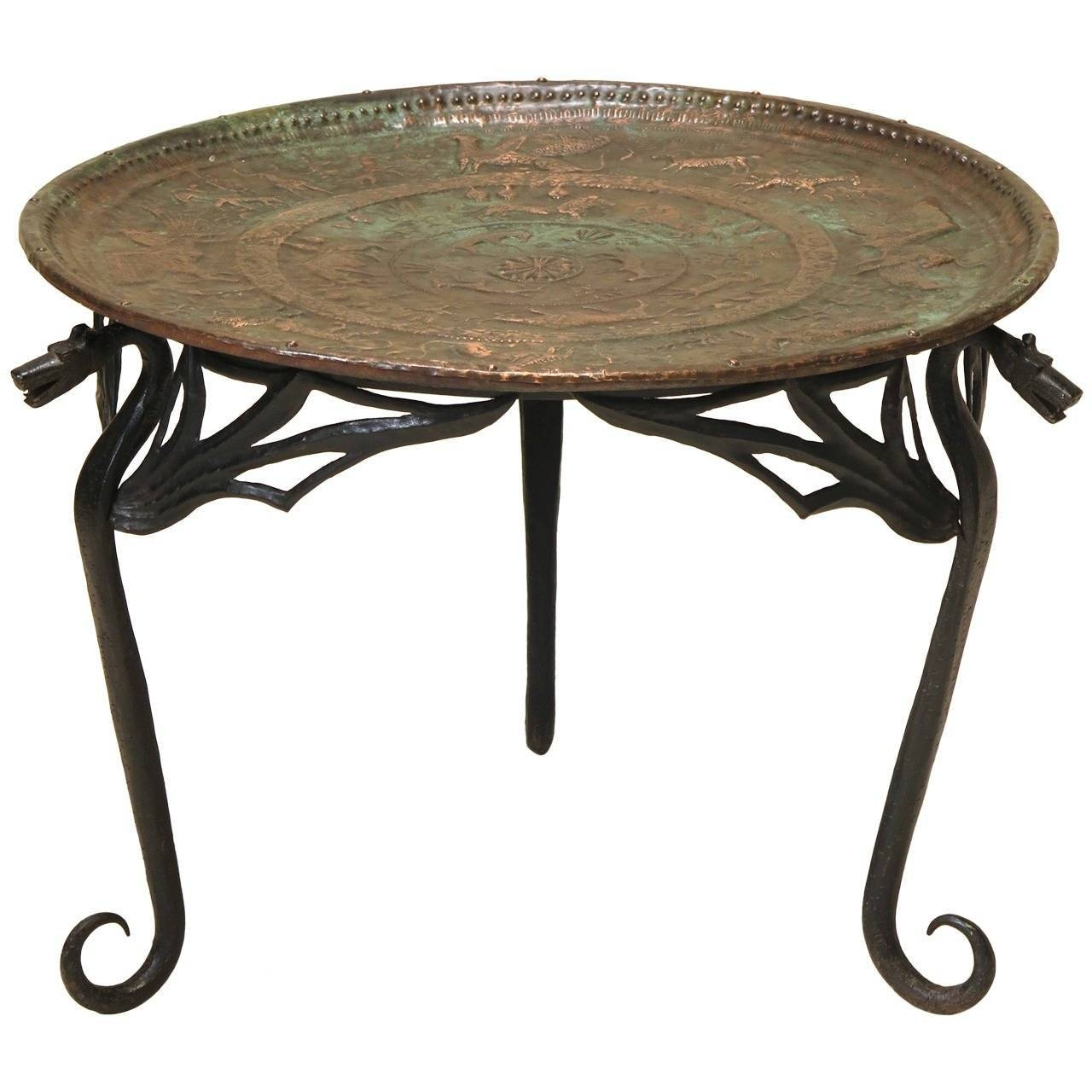 "Wrought Iron ""dragon"" Coffee Table With Copper Top, France, Early With Regard To Dragon Coffee Tables (View 12 of 30)"