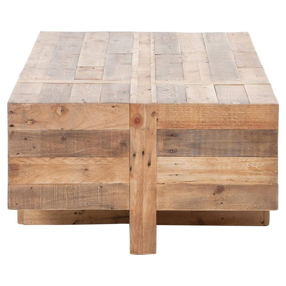 Wyatt Rustic Lodge Chunky Reclaimed Wood Rectangle Coffee Table regarding Chunky Coffee Tables (Image 27 of 30)
