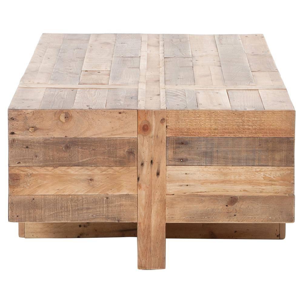 Wyatt Rustic Lodge Chunky Reclaimed Wood Rectangle Coffee Table With Chunky Rustic Coffee Tables (View 28 of 30)