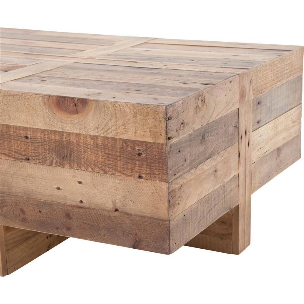Wyatt Rustic Lodge Chunky Reclaimed Wood Rectangle Coffee Table with regard to Chunky Coffee Tables (Image 28 of 30)