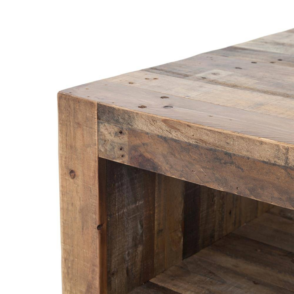 Wynn Modern Rustic Lodge Chunky Reclaimed Wood Rectangle Coffee for Chunky Rustic Coffee Tables (Image 29 of 30)