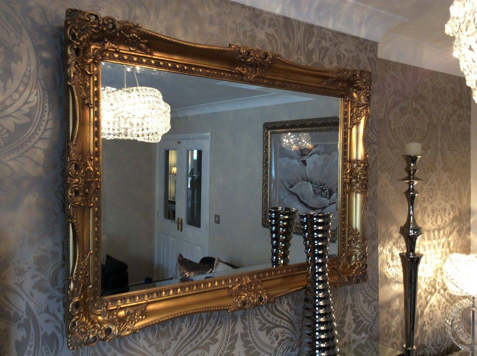 X Large Antique Gold Shabby Chic Ornate Decorative Wall Mirror inside Cream Antique Mirrors (Image 25 of 25)