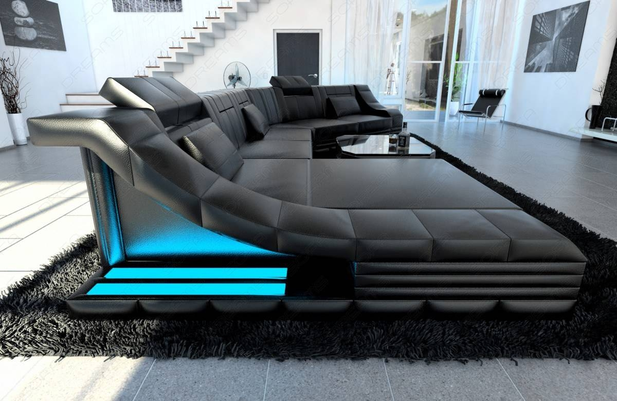 Xxl Luxury Sectional Sofa Turino Cl With Led Lights Black Black for Expensive Sectional Sofas ( : luxury sectional sofas - Sectionals, Sofas & Couches