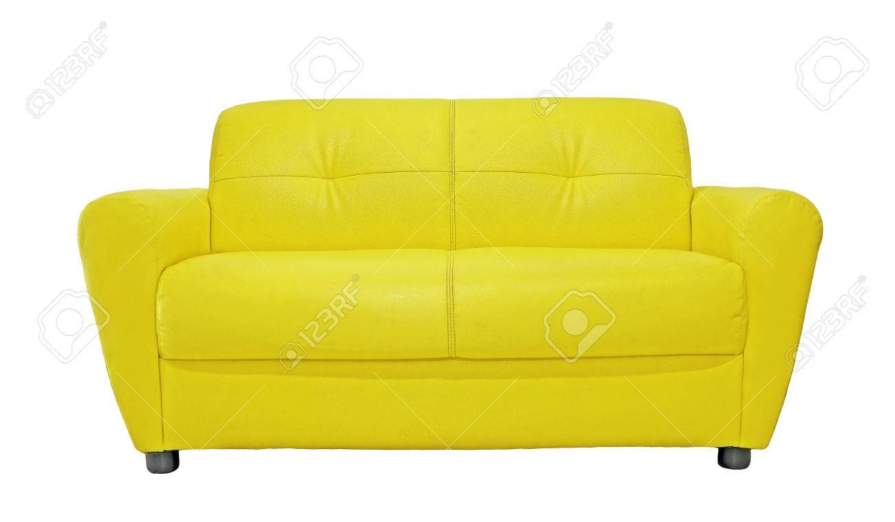 Yellow Sofa Furniture Isolated On White Background Stock Photo In Yellow Sofa Chairs (Gallery 28 of 30)
