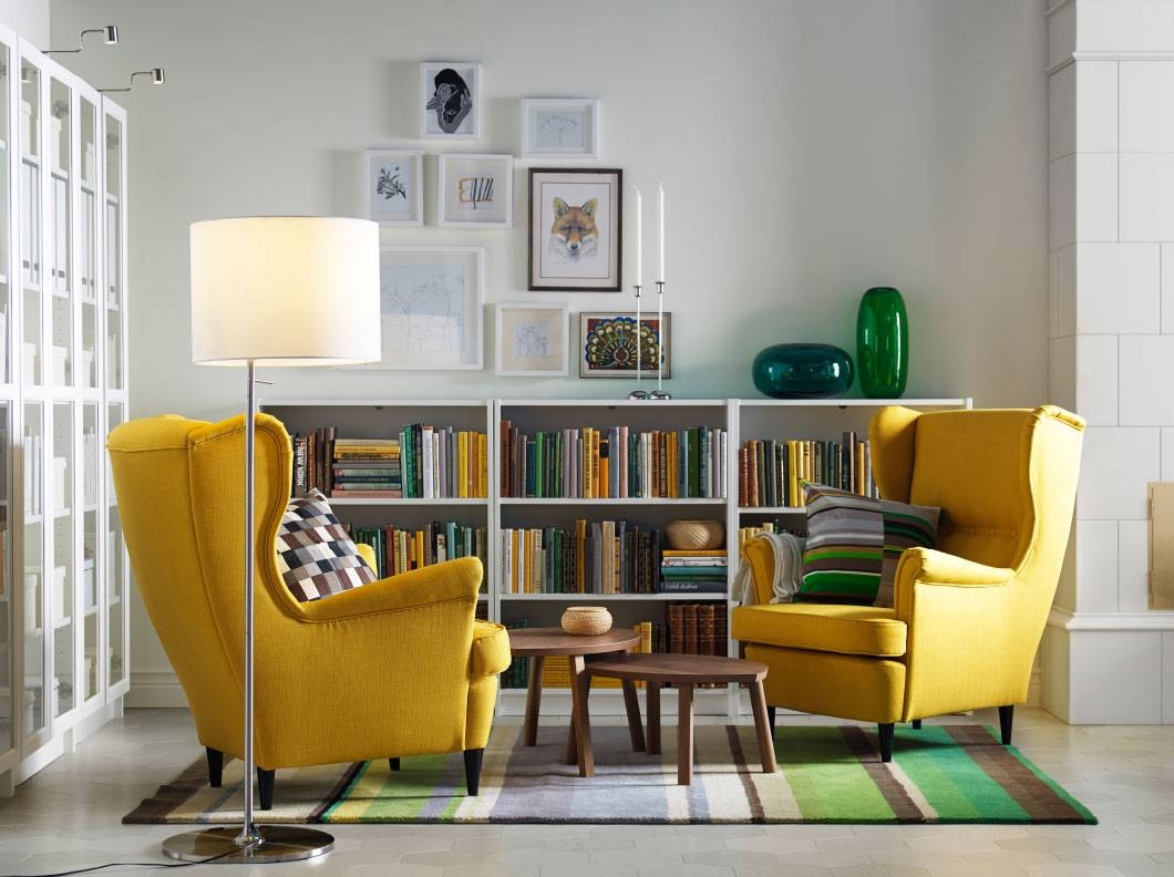 Yellow Upholstered Arm Chair Grey Living Room With Yellow Sofa And Intended For Yellow Sofa Chairs (Photo 5 of 30)