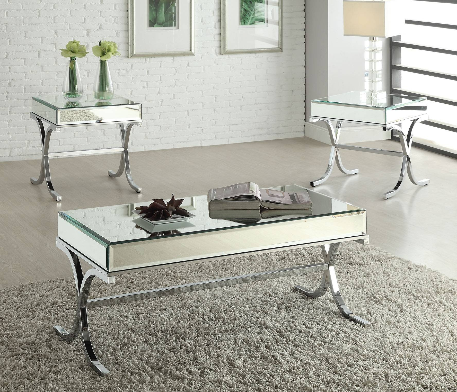 Yuri Mirrored Top Chrome Coffee Table Throughout Coffee Tables Mirrored (Gallery 22 of 30)