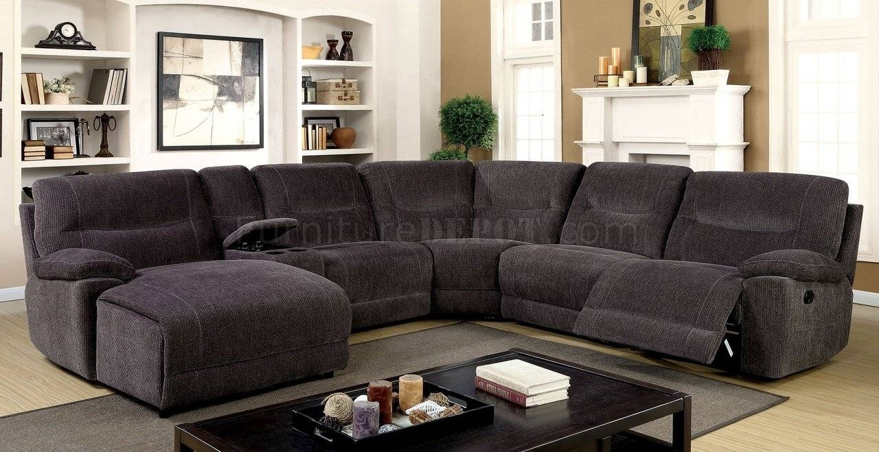 Zuben Reclining Sectional Sofa Cm6853 In Gray Chenille Fabric Within Chenille  Sectional Sofas (Image 28