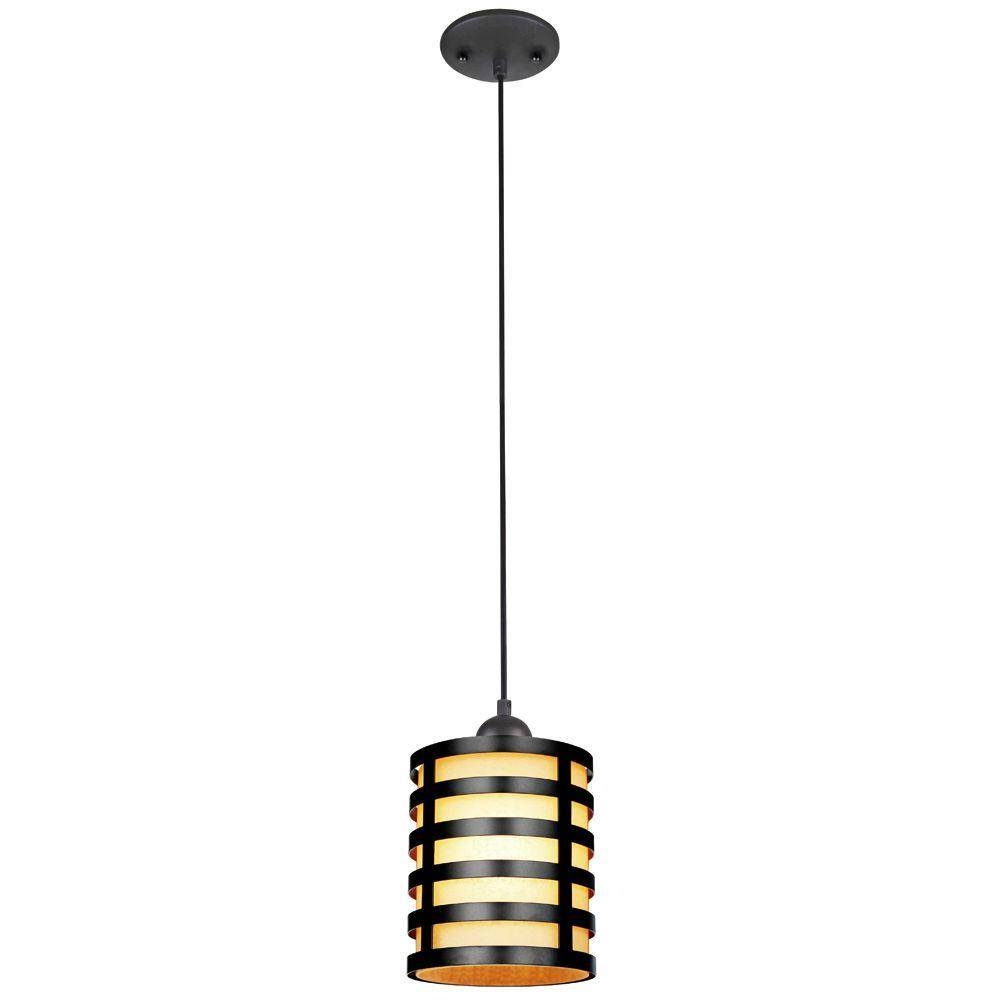 1-Light Brushed Nickel Mini Pendant-7028400 - The Home Depot with regard to Westinghouse Pendant Lights (Image 1 of 15)