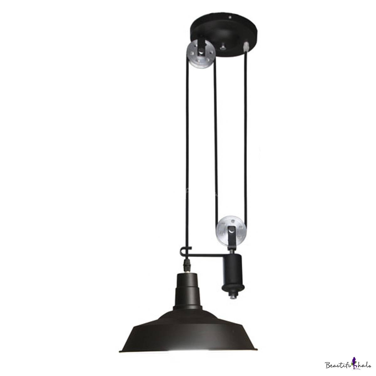 1 Light Pulley Pendant Metal Shade In Black - Beautifulhalo throughout Pulley Pendant Lights (Image 1 of 15)