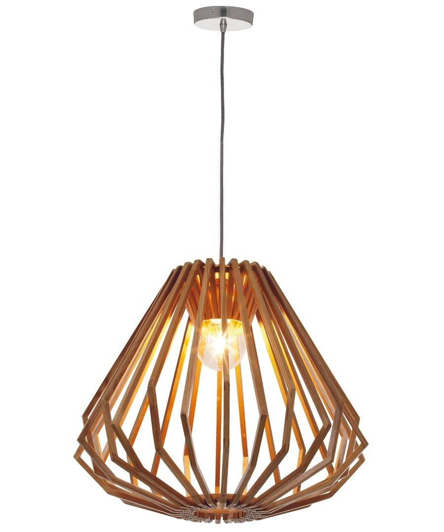 1 Light Squat Flair Pendant In Natural Wood pertaining to Beacon Pendant Lights (Image 1 of 15)