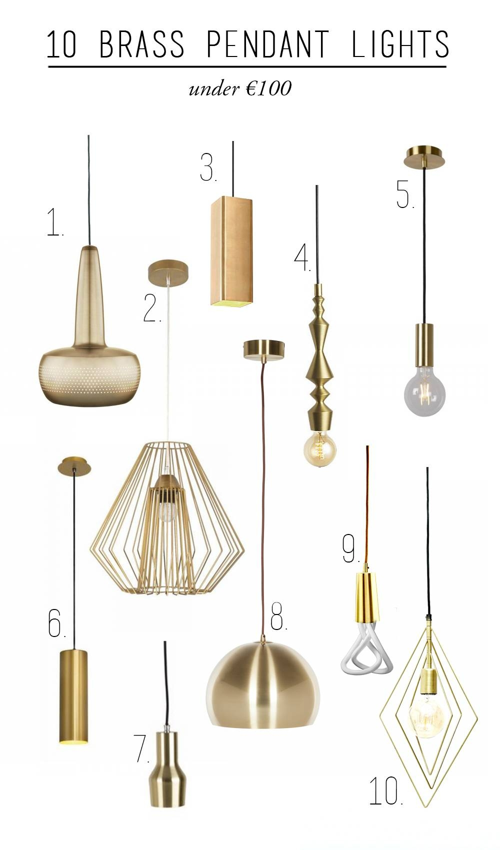 10 Brass Pendant Lights Under €100 throughout Cb2 Pendant Lighting (Image 1 of 15)