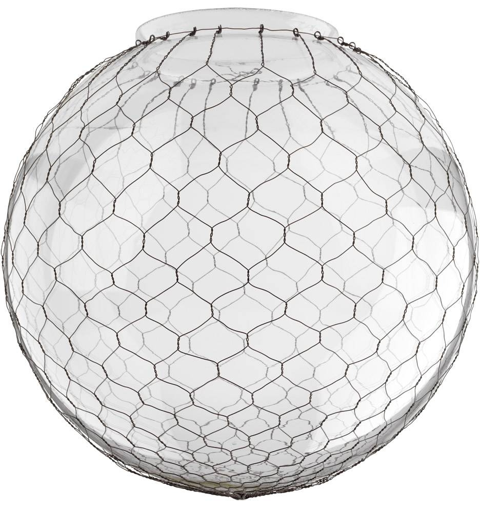 14In. Clear Globe Shade With Wire Mesh | Rejuvenation intended for Wire Ball Lights Pendants (Image 1 of 15)