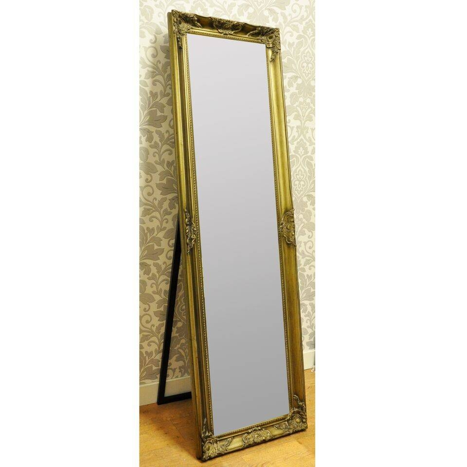 14X60 French Style Ornate Sweapt Antique Gold Free Standing Mirror with regard to Gold Standing Mirrors (Image 2 of 15)