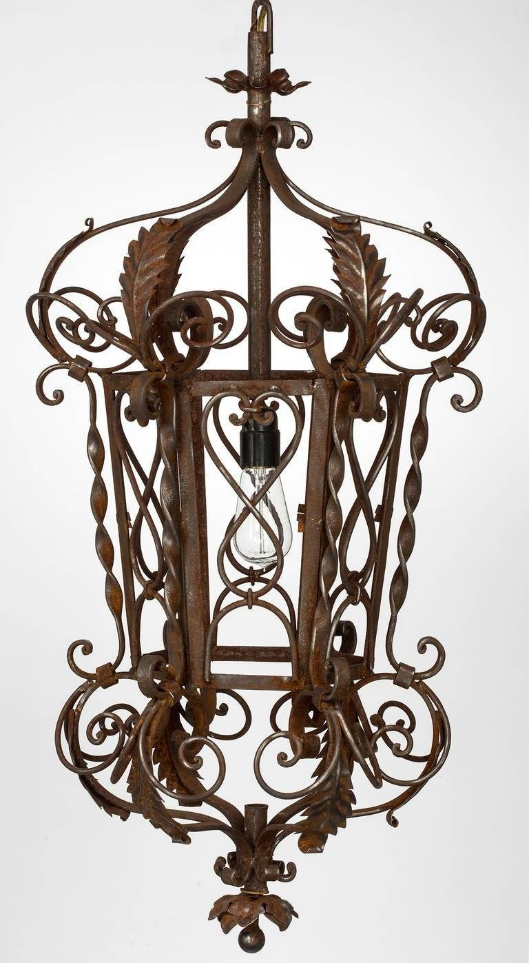 1920S Wrought Iron Lantern Pendant Chandelier For Sale At 1Stdibs regarding Wrought Iron Lights Pendants (Image 2 of 15)