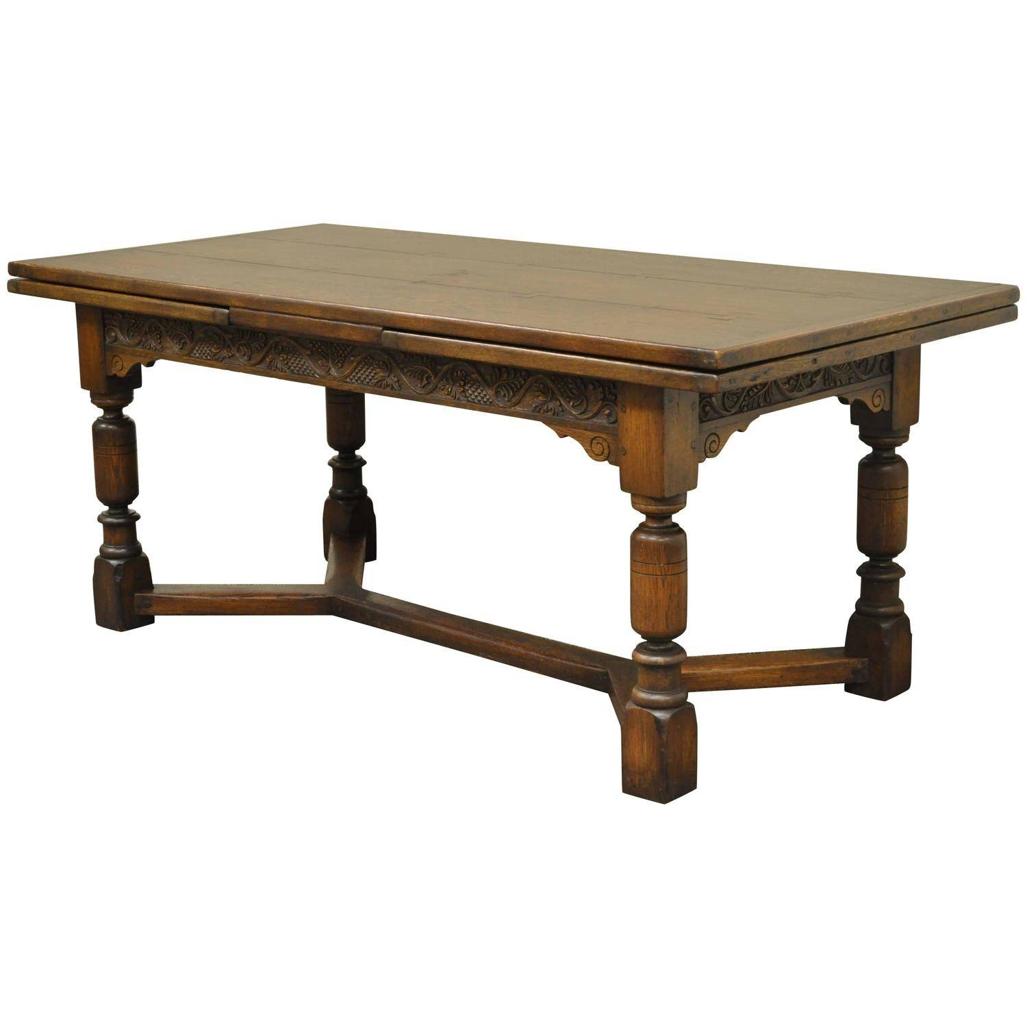 1930S Solid Carved Oak Jacobean Style Refectory Extension Plank Intended For Jacobean Coffee Tables (Image 1 of 15)