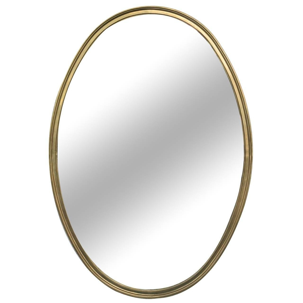 1950S French Brass Oval Shaped Mirror At 1Stdibs Throughout French Oval Mirrors (View 2 of 15)