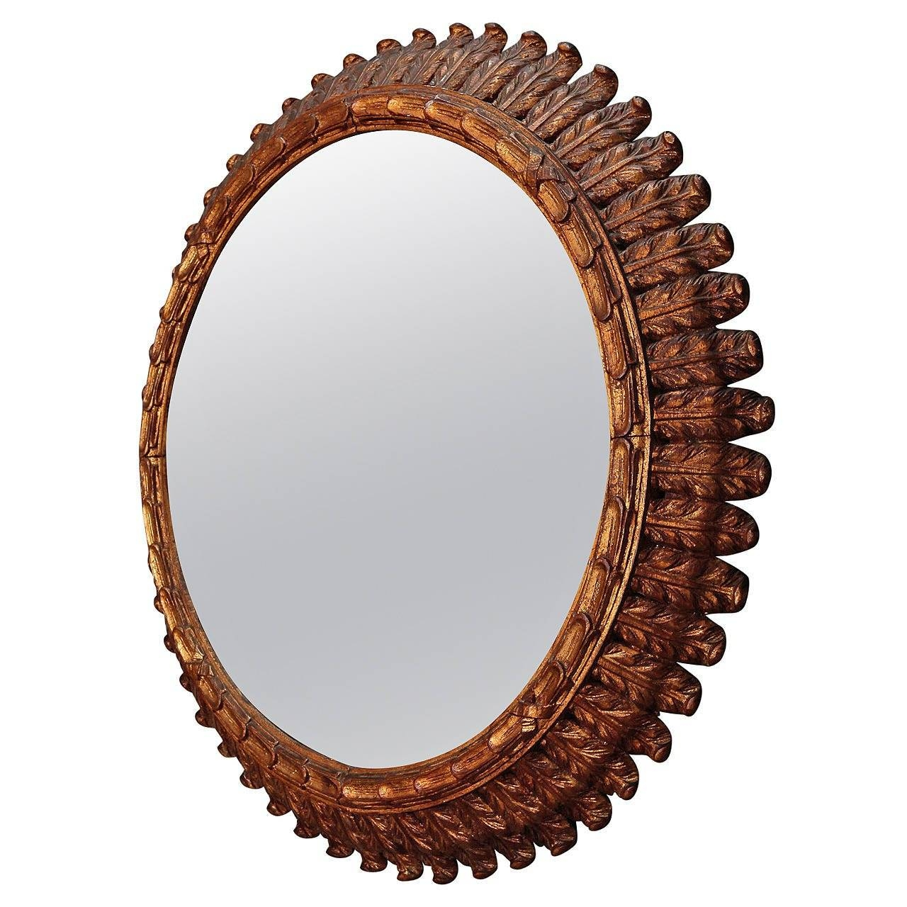 19Th Century French Large Carved Gilt Wood Round Mirror At 1Stdibs Regarding French Oval Mirrors (View 3 of 15)