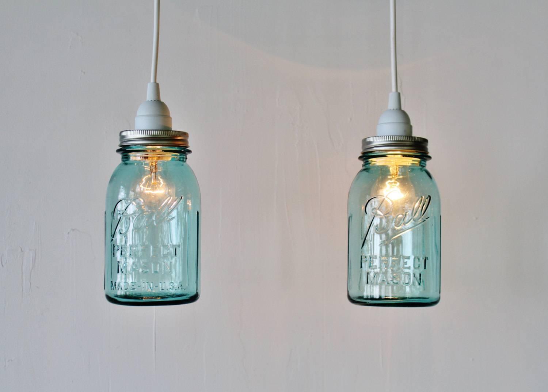 2 Mason Jar Pendant Lights Pair Of Hanging Pendant Lamps With with regard to Ball Jar Pendant Lights (Image 1 of 15)