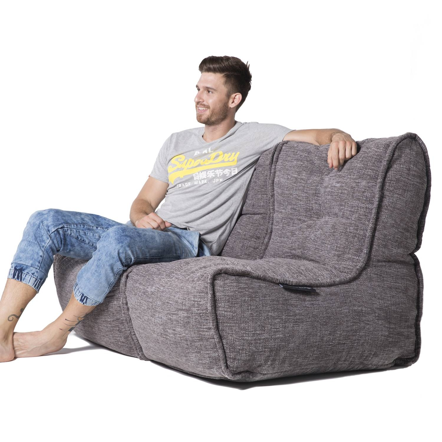 2 Seater Gery Sofa | Designer Bean Bag Couch | Grey Fabric | Bean intended for Bean Bag Sofas and Chairs (Image 1 of 15)