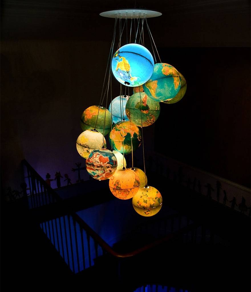 21 Diy Lamps & Chandeliers You Can Create From Everyday Objects within World Globe Pendant Lights (Image 2 of 15)