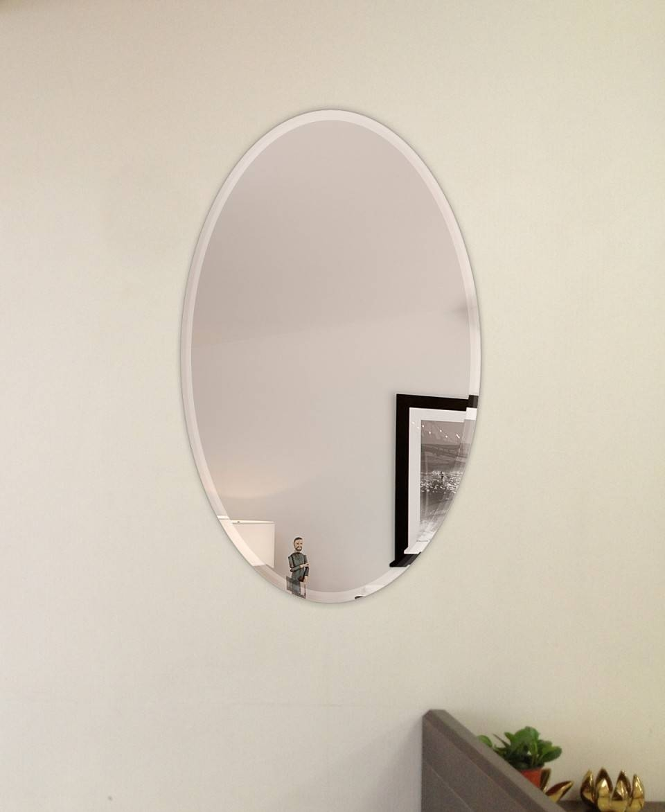22 X 39 Inch Oval Beveled Polished Frameless Mirror in Frameless Wall Mirrors (Image 1 of 15)
