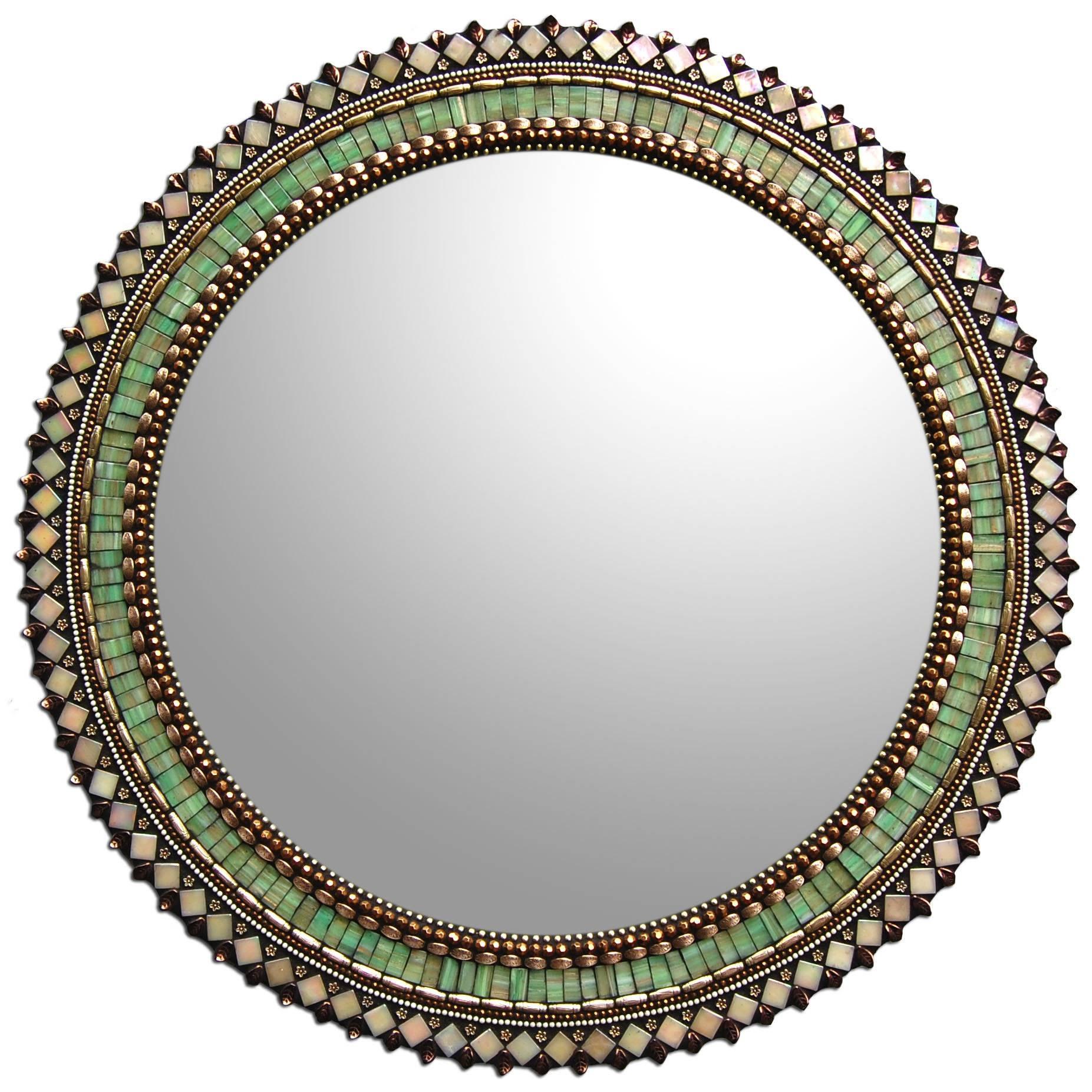 24'' Jade Bronze Mirrorangie Heinrich (Art Glass Mirror with Bronze Mosaic Mirrors (Image 1 of 15)