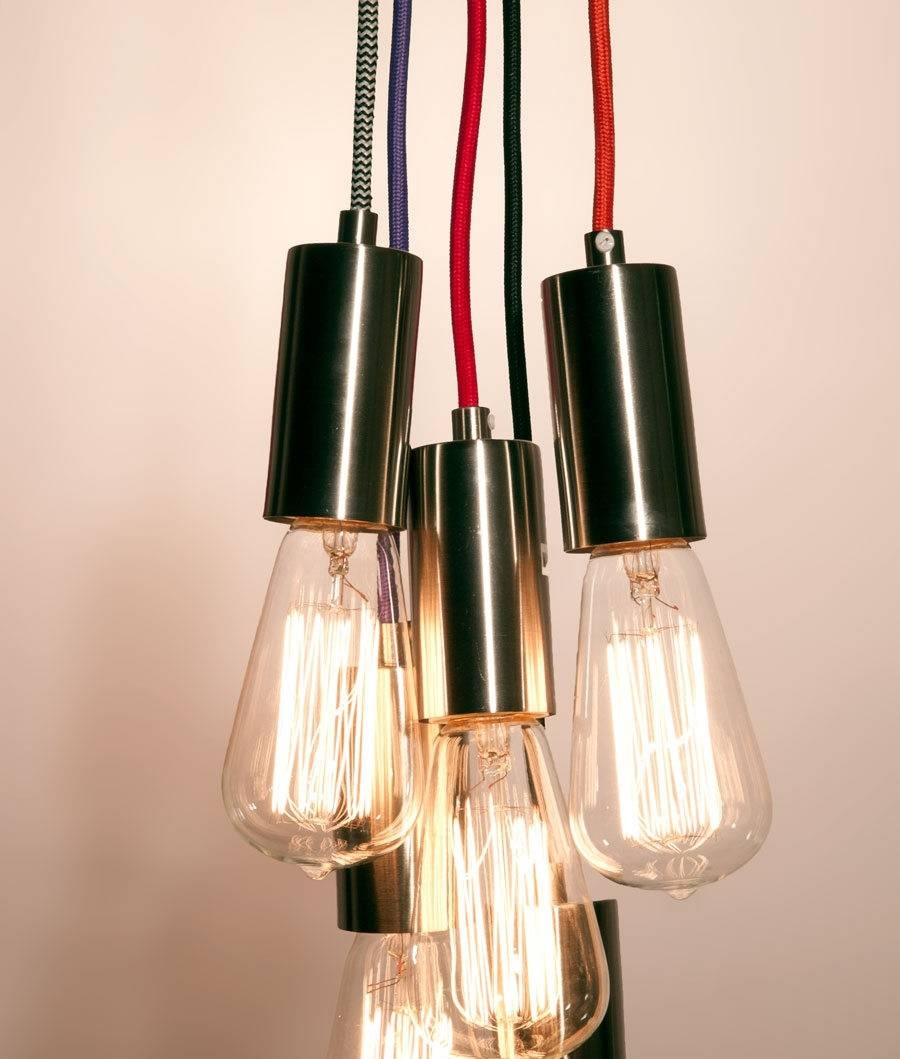 3.0 Metre Braided Flex Pendant   2 Colours Pertaining To Bare Bulb Pendant Lights (Photo 9 of 15)