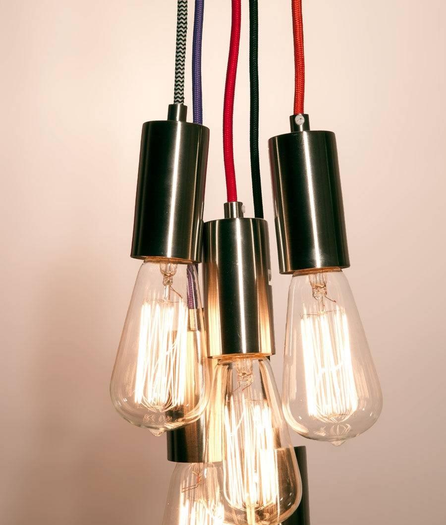 3.0 Metre Braided Flex Pendant   2 Colours Pertaining To Exposed Bulb Pendant Lights (Photo 9 of 15)