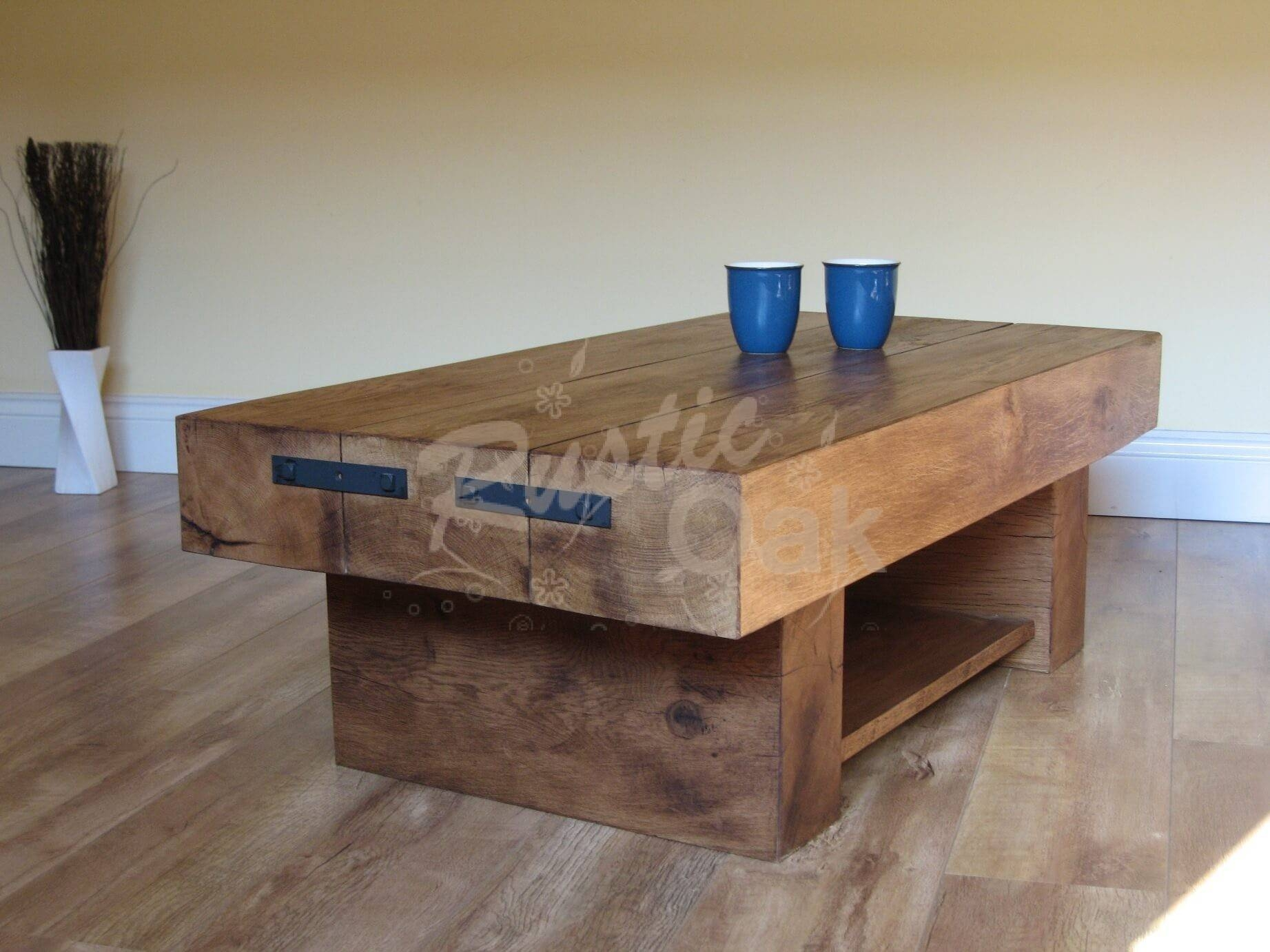 3 Beam Coffee Table With Shelf   Rustic Oak Intended For Oak Beam Coffee Tables (Photo 9 of 15)