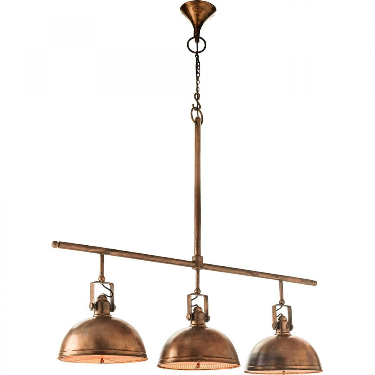3 Light Retro Servery   Antique Copper Finish Within Landmark Lighting Chadwick Pendants (Photo 13 of 15)