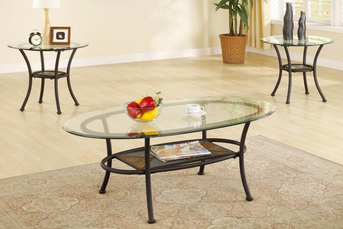 3 Piece Coffee Table Set, Elliptical Glass Top With Stone Mosaic For Glass And Stone Coffee Table (Photo 14 of 15)