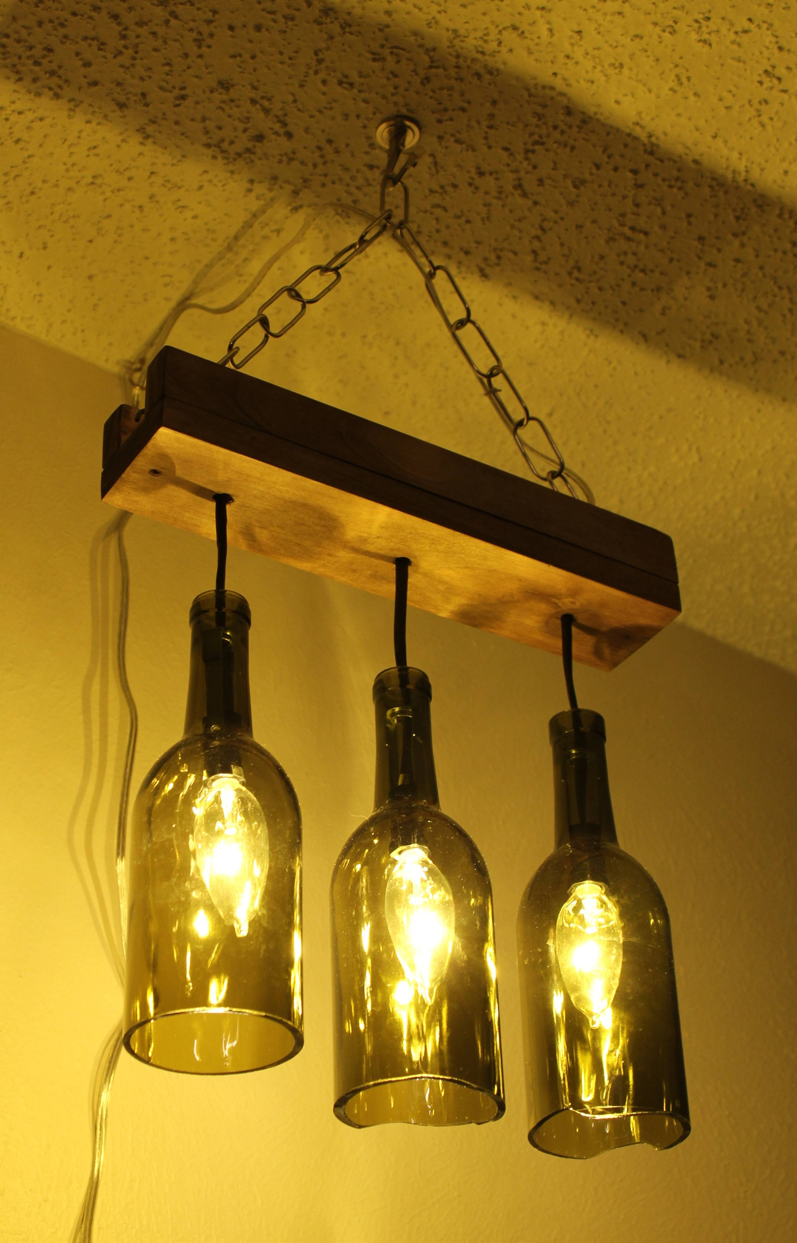 3 Wine Bottle Pendant Lamp Design Come With Rectangular Wooden Within Wine Glass Pendant Lights (Photo 13 of 15)