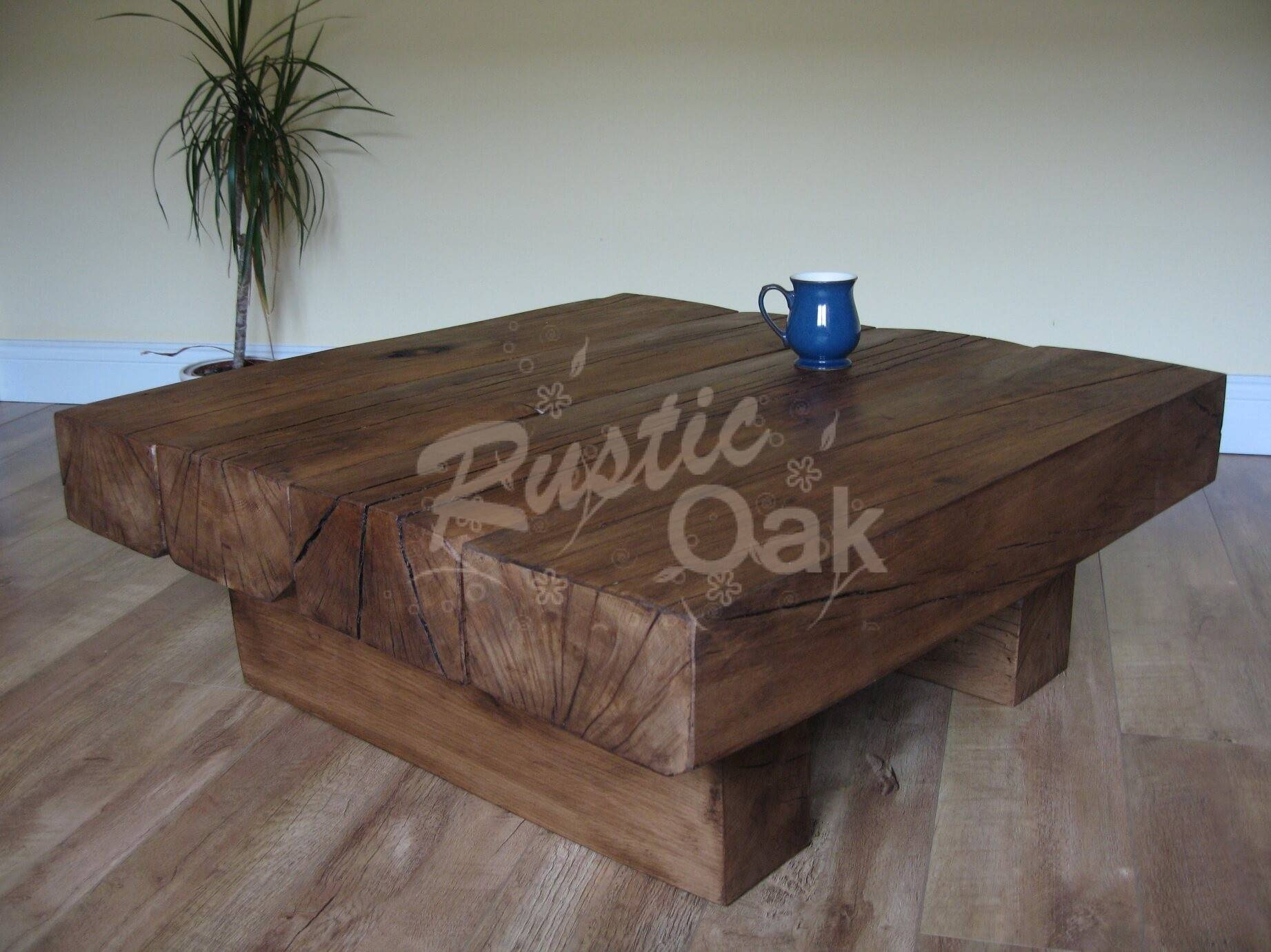 4 Beam Square Coffee Table - Rustic Oak throughout Oak Beam Coffee Tables (Image 3 of 15)