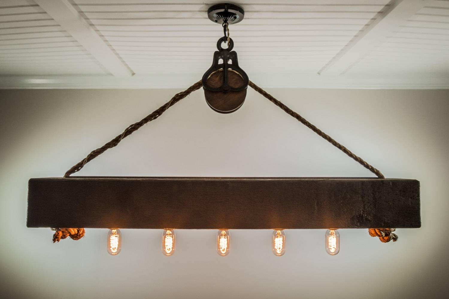 4 Ft Rustic Beam Edison Bulb Chandelier With Vintage Barn in Pulley Lights Fixtures (Image 2 of 15)