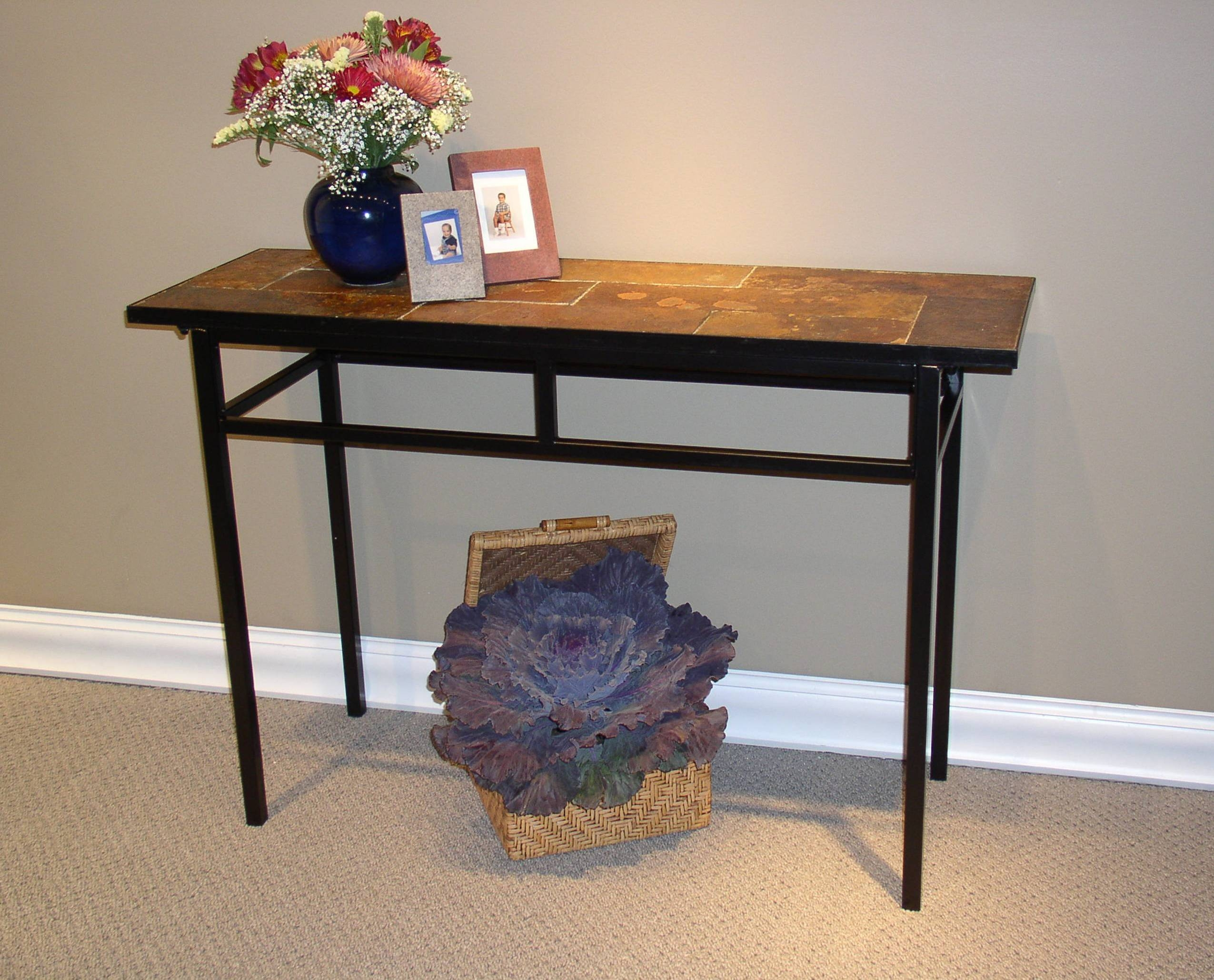 4D Concepts Sofa Table W/ Slate Top In Metal - Beyond Stores intended for Slate Sofa Tables (Image 1 of 15)