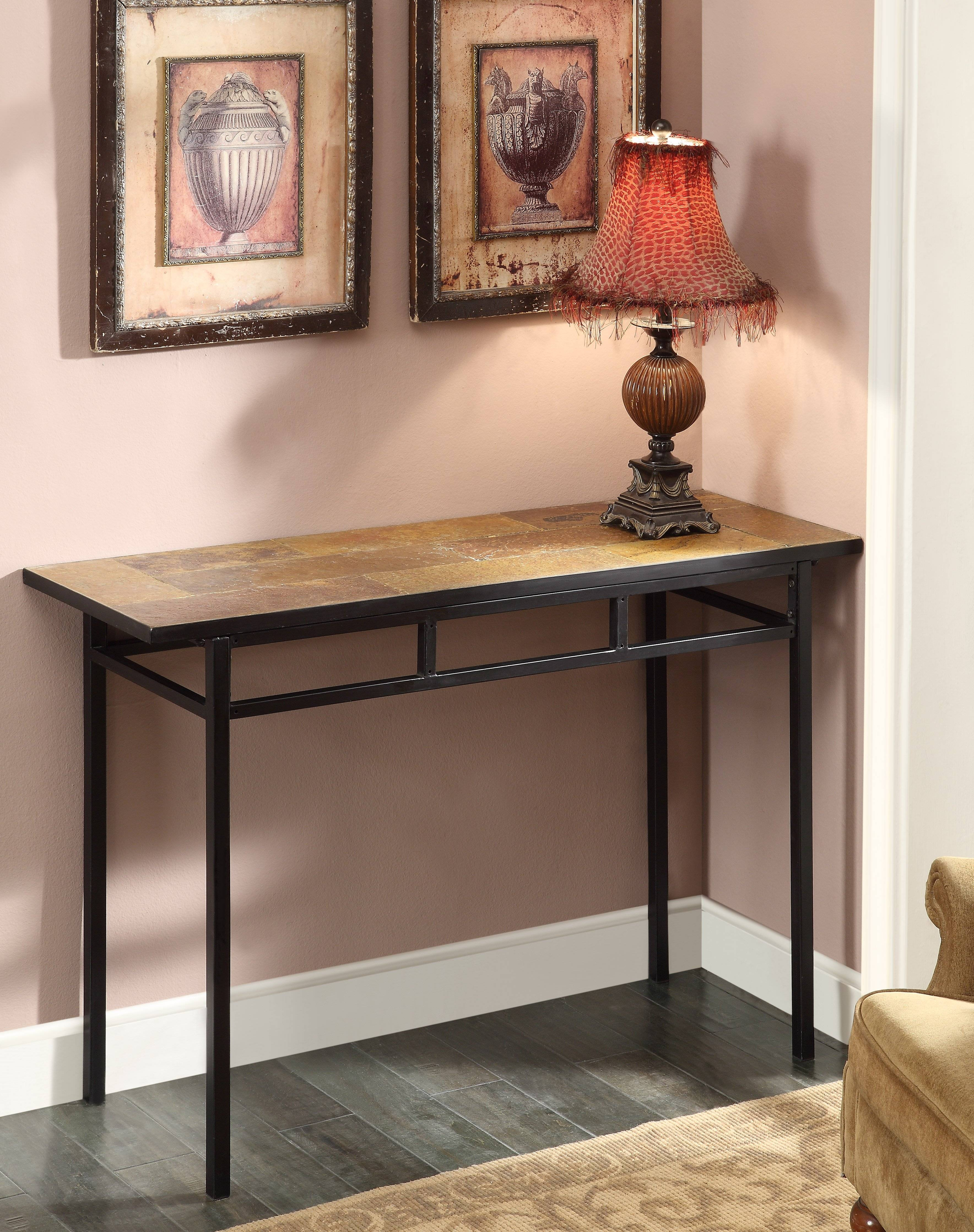4D Concepts Sofa Table W/ Slate Top In Metal - Beyond Stores pertaining to Slate Sofa Tables (Image 2 of 15)